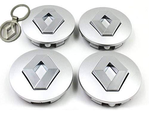 Lot de 4 caches moyeu Capsules enjoliveur Renault 60mm avec Porte-clés en Hommage Clio Laguna Megane Scenic Jantes Twingo Alliage