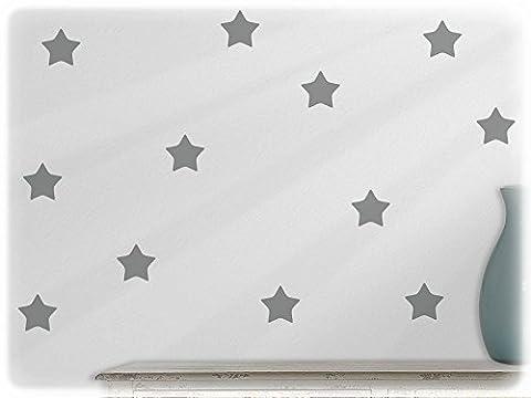 Wall Sticker Tattoo Stars in Polka Dot Style Pack of 24 74-mittelgrau