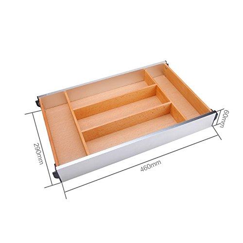 Organisateur/diviseurs tiroir extensible pour couverts, Boîte de rangement tiroirs de cuisine, Vaisselle en bois tiroir séparé baguettes,460 de long et 290 de large
