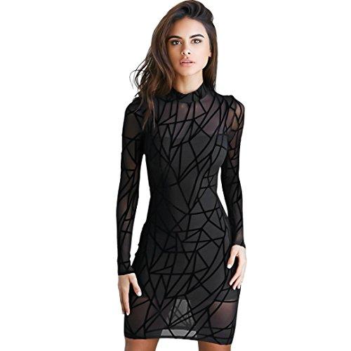 Vestito Sexy, Reasoncool Manica lunga aderente sera del partito Vestito sottile breve mini Nero