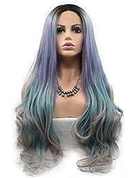 Sirena Peluca Raíces Oscuras A Púrpura   Azul Verde   Gris Onda Larga  Pelucas Delanteras Del Cordón Resistente Al… ff72f363635c