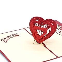 Idea Regalo - medigy 3d pop up biglietto d' auguri per San Valentino, amanti della coppia, matrimonio, Dating, anniversario (Cuore di amore)