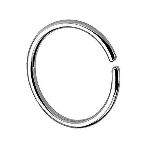 Piersando Continuous Piercing Chirurgenstahl Fake Hoop Ring für Septum Ohr Tragus Helix Nase Lippe Ohr Nasenpiercing Nasenring Silber 0,8mm x 6mm