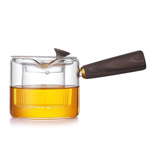 Oneisall Glas Tee-Kaffee, die auf Tee, mit Griff aus Holz mit robuster, Wasserkocher, Glas-Teekanne mit Glas mit Filter für Haushalt und Büro, Borosilikatglas, 400 ml