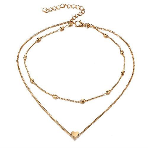 LA Diva Gold oder Silberfarben Modische Doppel-Kette mit Herz-Anhänger Halskette - Damen Mädchen -Geschenk für Damen/Frau/Freundin/Tochter (Gold)