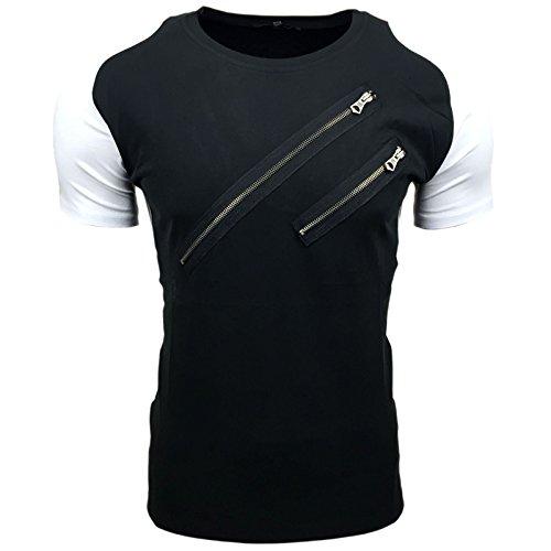 Avroni T-Shirt Herren Rundhals Shirt Schwarz Blau Weiß Reißverschluss A1-RN15019 Schwarz