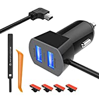 APPHOME Car Charger Compatible with Garmin Nuvi, 6.6ft Mini USB Charging Cable Dual Port Vehicle Power Replacement Cord Adapter with Cable Clips/Car Crowbar for GoPro Hero PS3 Controller