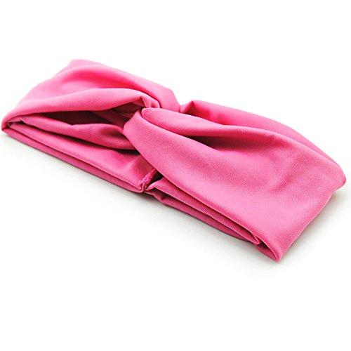 Saint-Acior Yoga Turban Elastische Stirnbänder Mädchen Haar Band Yoga Haarband Sport Turban Kopftuch (Rosa) (Rosa Stirnband Elastisches)