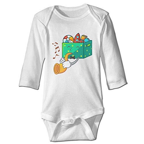 Monicago Neugeborenes Baby Jungen Mädchen Babybody Langarm, Baby Boys Girls Bodysuit with Trumpet Kids Toys in The Cartoon Box Jumpsuit Onesies Long Sleeve Unisex