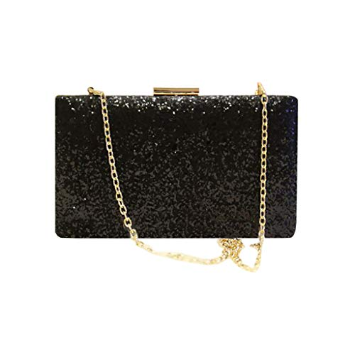 SoonerQuicker Brieftasche Damen Frauen Abend Umschlag Handtasche Party Sparkly Clutch Geldbörse Schulter Cross Bag schwarz One Size