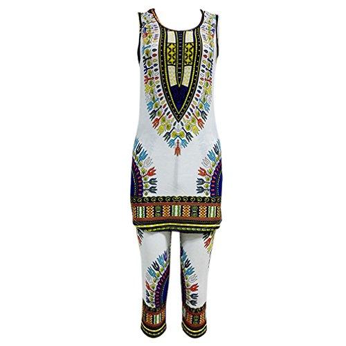Honghu Damen Fest Slim Fit ärmellos Tops & Bottoms Printed Vest Shorts Pant Set Weiß+Blau