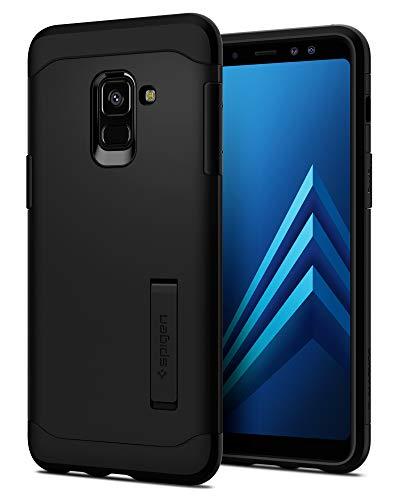 Spigen 590CS22753 Slim Armor für Samsung Galaxy A8 2018 Hülle Integrierter Kickstand 2-teilige Doppelschicht Schutz Handyhülle Schutzhülle Case - Schwarz