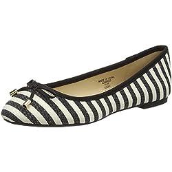 Jane Norman Damen Flat Round Toe Mono Stripe Ballerinas, Black (Mono), 35.5 EU
