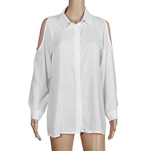 Sunnywill Womens locker ab Schulter Langarmshirt Chiffon Tops Bluse Weiß