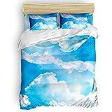 Image Duvet Parure de lit de Style Japonais Kimono Girl 4 pièces Housse de Couette Douce élégante avec Fermeture Éclair et nœuds d'angle Full Size Blue Skyied1997