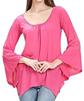 32b56531623 Gocgt Women s Casual Loose Bell Sleeve Shirt Solid Color Tops Blouse