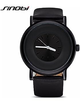SINOBI Einfache Fashion Herren Damen Leder-Armbanduhr, Sport wasserdicht Classic Uhr Uhren schwarz