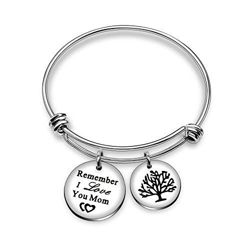 Bracciale rigido con doppio ciondolo, con albero della vita e scritta