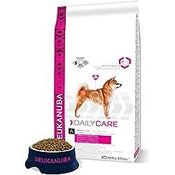Eukanuba Daily Care - Croquettes Premium pour Chiens Adultes à Digestion Sensible -Toutes Races - Au Poulet et Riz - Recommandé par les vétérinaires - 100% Complète - Sac refermable de 12.5kg