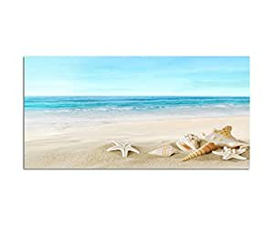 120x80cm fotodruck auf leinwand und rahmen strand meer muscheln seestern sand. Black Bedroom Furniture Sets. Home Design Ideas