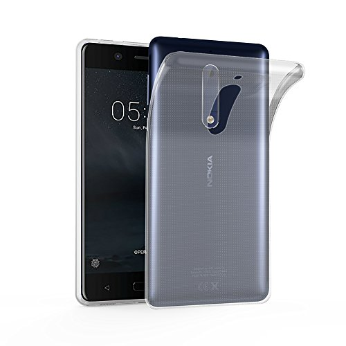 Cadorabo Hülle für Nokia 5 2017 - Hülle in VOLL TRANSPARENT - Handyhülle aus TPU Silikon im Ultra Slim 'AIR' Design - Silikonhülle Schutzhülle Soft Back Cover Case Bumper