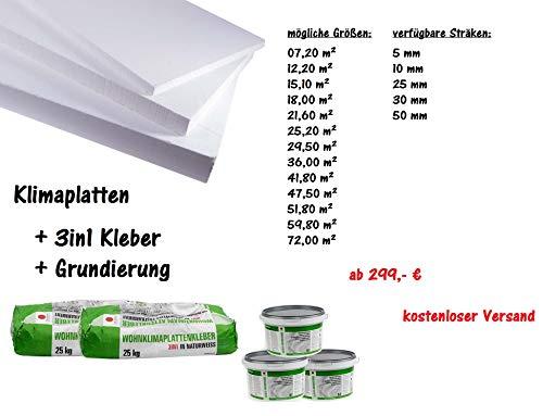 Renovierset Klimaplatten-aus Calciumsilikat + 3in1 Kleber & Grundierung I Dämmplatten für Innendämmung I von 5 mm - 50 mm Stärke I von 7,2 m² - 72 m² I ab 379 € I kostenloser Versand (07,20 m², 30 mm)