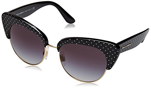 Dolce & gabbana 0dg4277 31268g 52, occhiali da sole donna, nero (pois white on black/gradient)