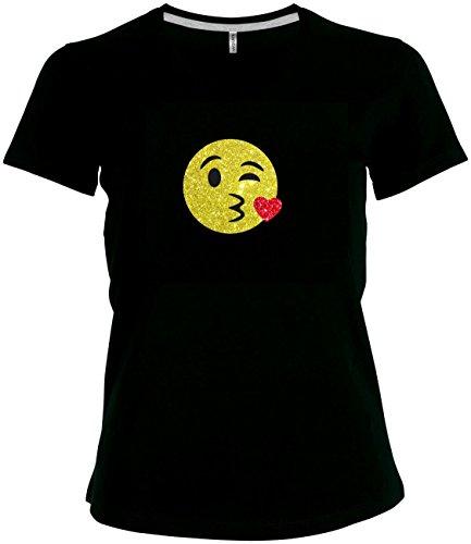 Shirt Damen Emoji super funkelnder Glitzeraufdruck Smiley Emoticon T-Shirt Karneval Fasching Kostüm Kiss Kussmund Kuss Love, ()