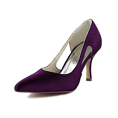 Jia Jia Bridal A316 Satin Low Heel Closed toe Prom Party Dance Wedding shoes Wommen Pumps Purple, 2.5 UK/ EU