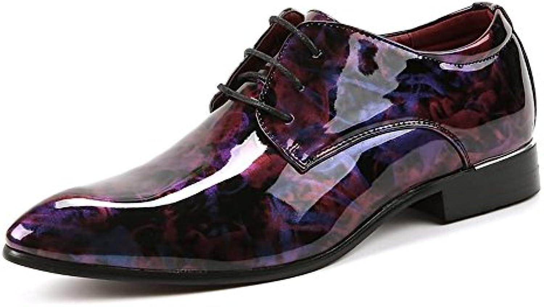 MXNET Zapatos Oxford de Cuero de los Hombres, Pintura Abstracta Lisa de la PU de Cuero Clásico con Cordones Forrados... -