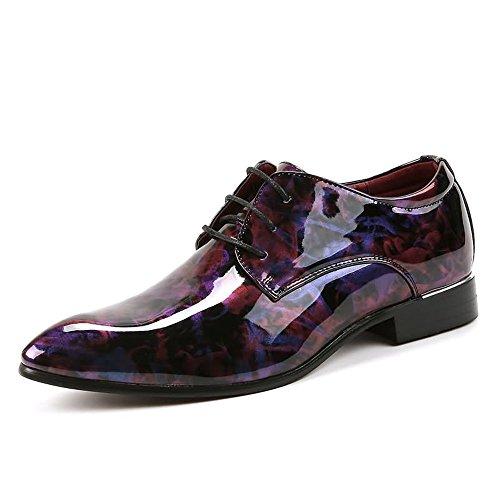 Hilotu Oxford Schuhe für Männer Tuxedo Cap Toe aus Lackleder mit Schnürung Mens Abendschuhe (Color : Wein, Größe : 44 EU) Oxford Tuxedo