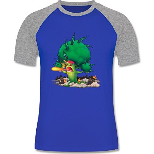 Comic Shirts - Brokkoli Monster - zweifarbiges Baseballshirt für Männer Royalblau/Grau meliert