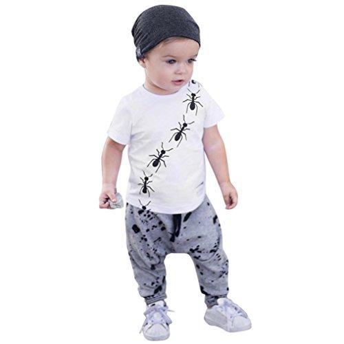Babybekleidung,Resplend Kleinkind Baby Kurzarm 2 Stück Bekleidungssets Lässig T-Shirt-Oberteile + Hosen 2PCS Outfit Set (Weiß, 18M)