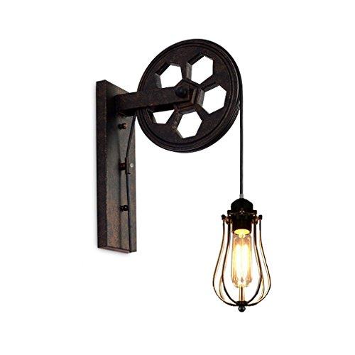 JIAHONG Vintage Loft Industrial Wandhalterung Light - PulleyWall Wandleuchte mit eisernen Käfig -E27 Birne -Restaurant, Flur, Pubs Club -