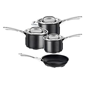 Circulon Infinite Hard Anodised Cookware Set, 4-Piece with Frypan - Black