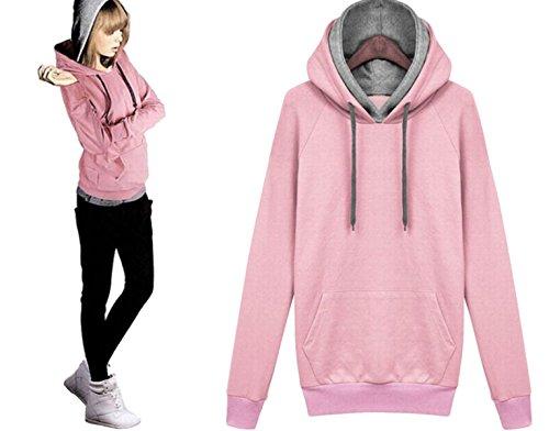 Pulls à Capuche Longs Pour Les Femmes Pull à Capuche Sweat-shirt Pulls Décontractés Oversize Lâche pink