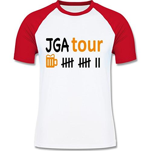 JGA Junggesellenabschied - JGA Tour - zweifarbiges Baseballshirt für Männer Weiß/Rot