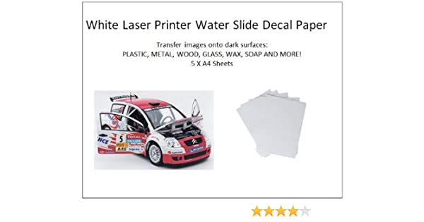 5 Pack A4 Laser Printer Water Slide Decal Paper Sheets White and Clear