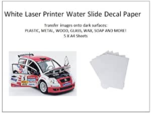 White Laser Printer Water Slide Decal Paper 5 Sheets A4