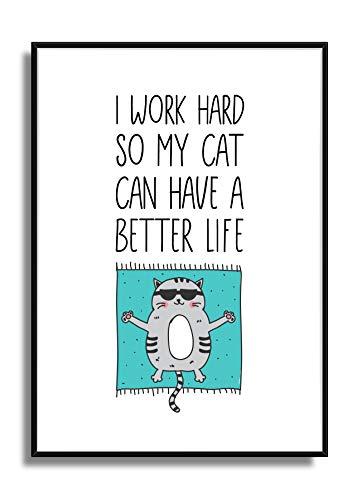 Haustier Kunstdruck CHILLIGES KATZENLEBEN Fine Art Wandbild Poster mit Motiv Katze & Sonnenbrille (A4 210 x 297 mm)