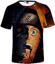 FLYCHEN Niños Camiseta con Motivo Naruto 3D Impreso Gráfica Fantástica Boy's T-Shirt Cuello Redondo Anim