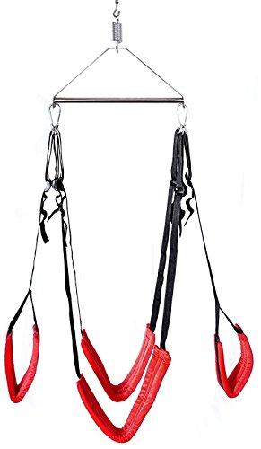 Liebesschaukel Sexspielzeug für paare mit die Stahl Dreieck Rahmen für ungeahntes Vergnügen, Swing Fetish Sling Sex Schaukel 360° drehbar für Schlafzimmer Spaß(Rot).