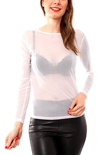 Easy Young Fashion Damen Mesh Netz Shirt Transparent Creme