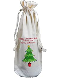 Personalised - Christmas Tree design - Natural Cotton Drawstring Wine Bottle Bag