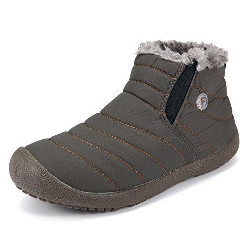 Winterstiefel, Gracosy Unisex Schneestiefel Winter Bootsschuhe Warm Gefütterte Schuhe Kurzschaft Stiefel Outdoor Sneakers für Damen Herren Khaki 43