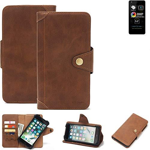 K-S-Trade Handy Hülle für Allview A9 Lite Schutzhülle Walletcase Bookstyle Tasche Handyhülle Schutz Case Handytasche Wallet Flipcase Cover PU Braun (1x)