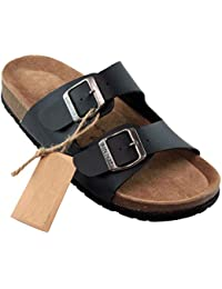 BIOSOFT ANN Damen Gastronomie - Service Clogs   Arbeitsschuhe   Sandale   Sandalette   Pantolette   Schlappen mit verstellbarem Riemchen Verschluss - Gr. 37-41 - schwarz   Black