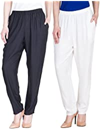 Dada Shopy Comfort Fit Rayon Cotton Pant Palazzo for Women combo 2 (Black::White)