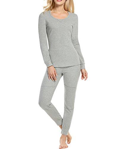 HOTOUCH Damen Thermo Unterwäsche Nachtwäsche Pyjama Schlafanzug Set aus Baumwolle mit Hosen und Rundhalsausschnitt (Pyjama-hose Long John)