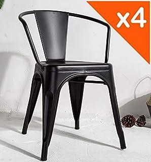 Chaise de Cuisine Industriel Brun Chaise Cantilever avec Cadre Asier 45 x 52 x 85cm Costway Lot de 4 Chaises de Salle /à Manger .